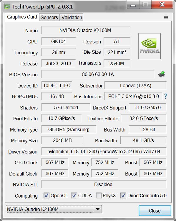 Laptop Dell Precision M4800 - thông số VGA
